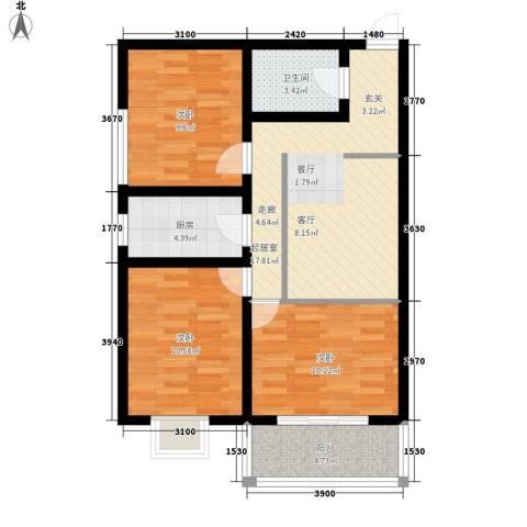 桃花岛城市花园3室0厅1卫1厨90.00㎡户型图