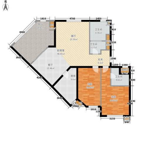 北京太阳城2室0厅3卫1厨141.00㎡户型图