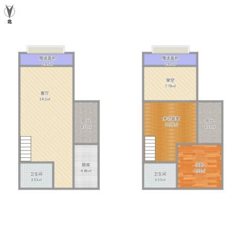 汇景新城1室1厅2卫1厨106.00㎡户型图