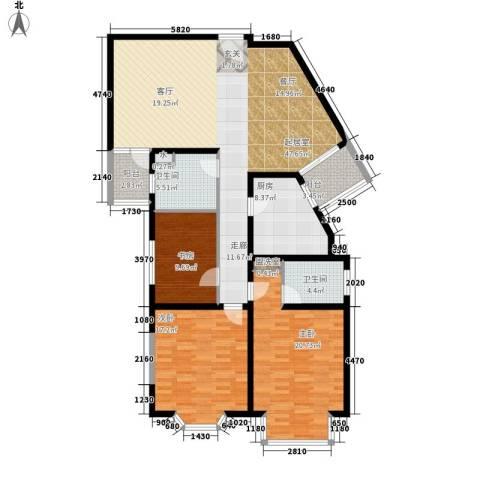 成贤公寓3室0厅2卫1厨136.00㎡户型图