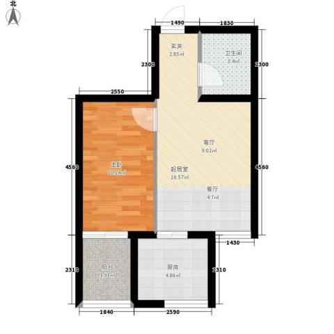 和润苑1室0厅1卫1厨53.00㎡户型图