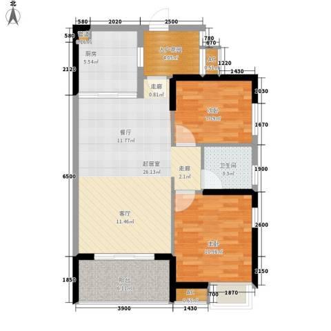 融科香山国际2室0厅1卫1厨88.00㎡户型图