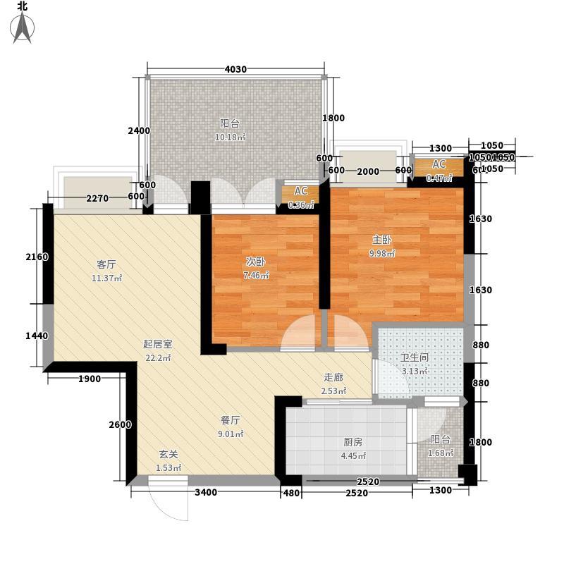 华宇阳光水岸67.92㎡2幢1单元1号面积6792m户型