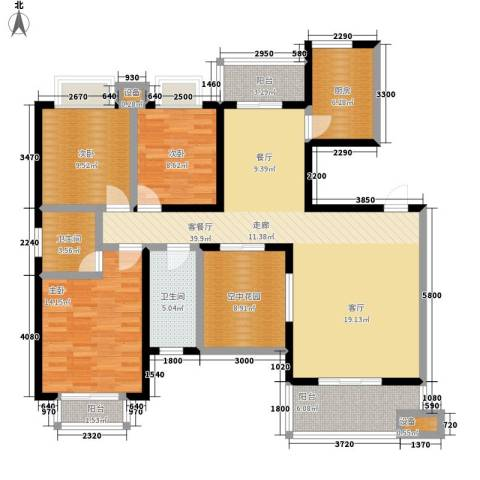 西子湖畔3室1厅2卫1厨107.70㎡户型图