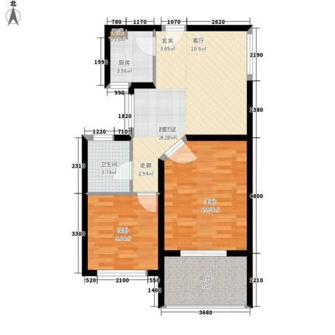 颐家春天2室0厅1卫1厨68.00㎡户型图