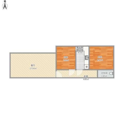 广西路2室1厅1卫1厨62.00㎡户型图