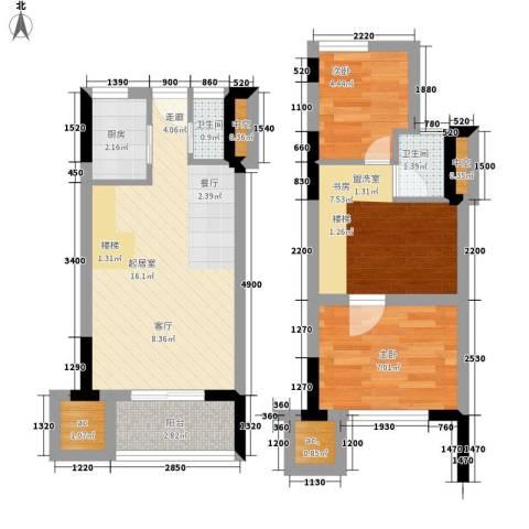 仁恒G53公寓3室0厅2卫1厨88.00㎡户型图