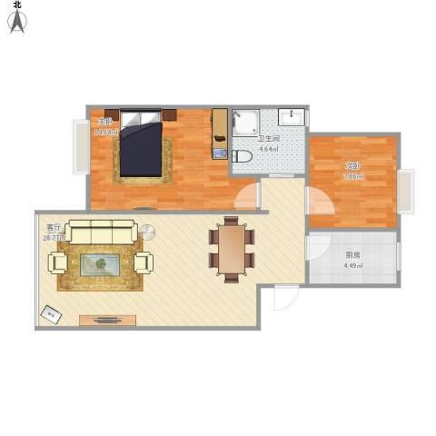 西民旺苑2室1厅1卫1厨81.00㎡户型图