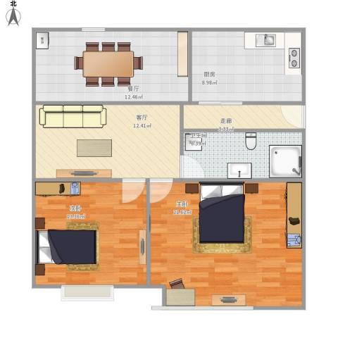 城市印象2室2厅1卫1厨106.00㎡户型图