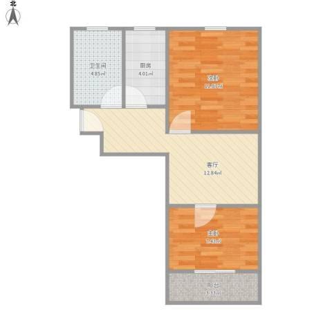 甘泉三村2室1厅1卫1厨61.00㎡户型图