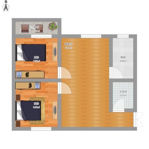 西辛北区2室1厅1卫1厨69.00㎡户型图