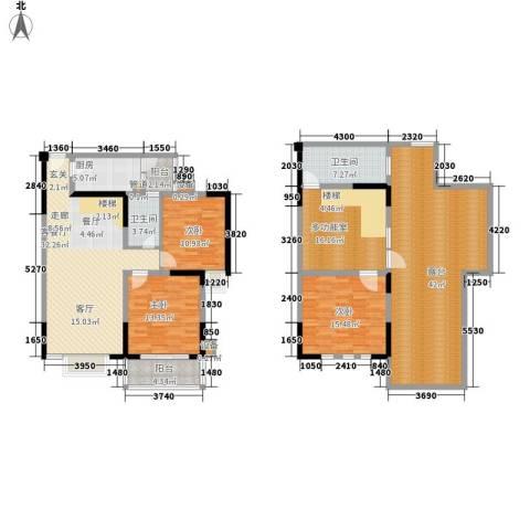和谐家园3室1厅2卫1厨153.46㎡户型图