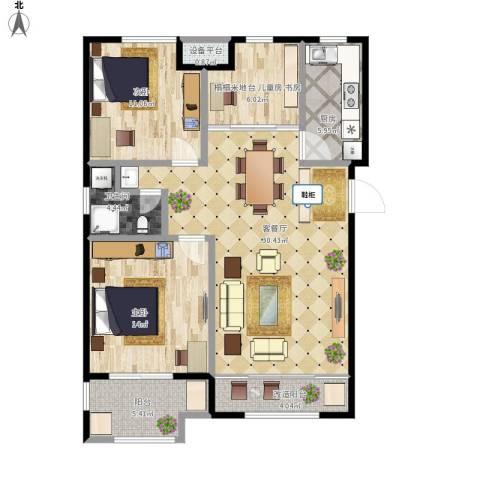 社会山20142室1厅1卫1厨115.00㎡户型图