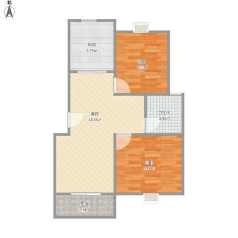 盛达家园2室1厅1卫1厨66.00㎡户型图