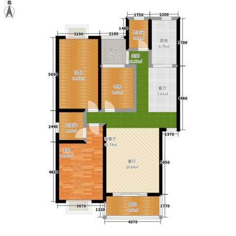 广厦新苑3室1厅2卫1厨117.00㎡户型图
