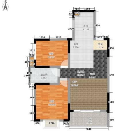 枫雅名苑2室0厅1卫0厨91.00㎡户型图