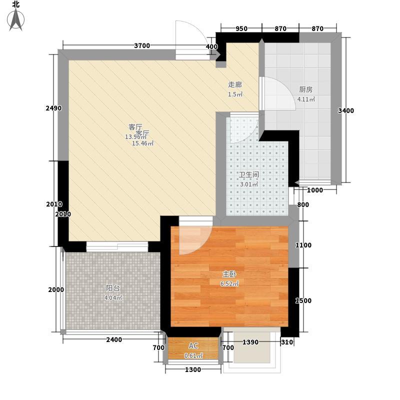 上霖东方45.54㎡1号楼3-24层1单面积4554m户型