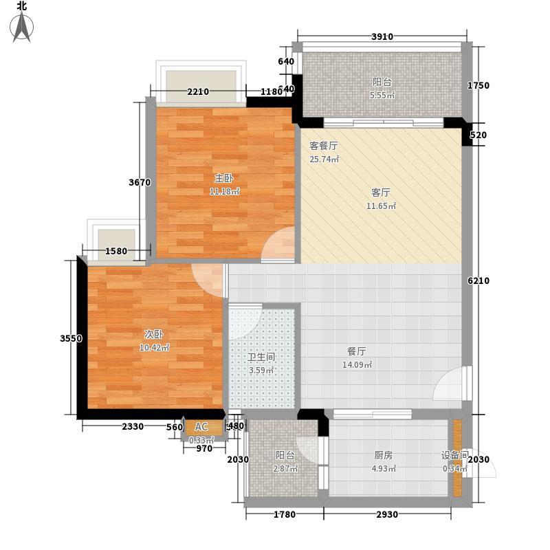 广州新塘新世界花园73.49㎡25栋1-6层04单元2室户型