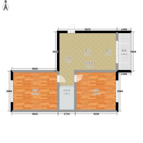 红苹果家园2室0厅1卫1厨70.00㎡户型图