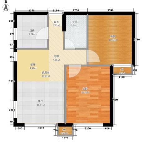 翠屏紫气钟山2室0厅1卫1厨64.00㎡户型图