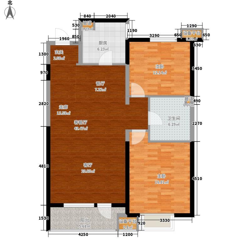 华润置地广场103.12㎡H楼D型图户型2室2厅