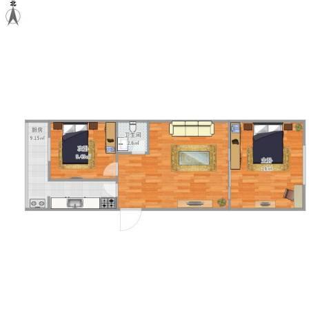 海山北里2室1厅1卫1厨79.00㎡户型图