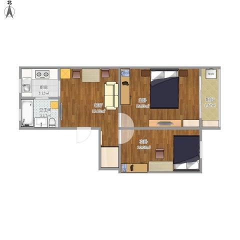 淞南七村2室1厅1卫1厨63.00㎡户型图