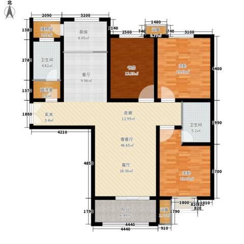 茗美花园3室1厅2卫1厨130.00㎡户型图