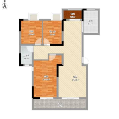 中信森林湖香樟林4室1厅1卫1厨108.67㎡户型图