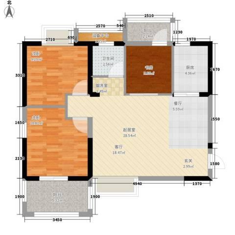 军工3541社区3室0厅1卫1厨101.00㎡户型图