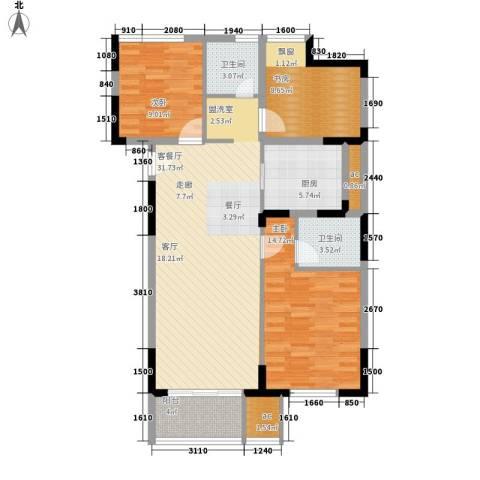 仁恒G53公寓3室1厅2卫1厨116.00㎡户型图