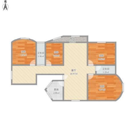 九亭明珠苑三期4室1厅2卫1厨59.00㎡户型图