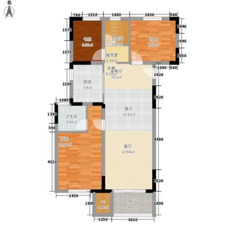 仁恒G53公寓3室1厅2卫1厨120.00㎡户型图