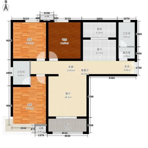 茗美花园3室1厅2卫1厨135.00㎡户型图