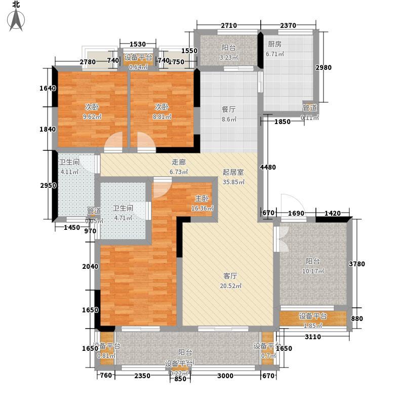 中信森林湖130.00㎡香樟林2期标准层户型3室2厅