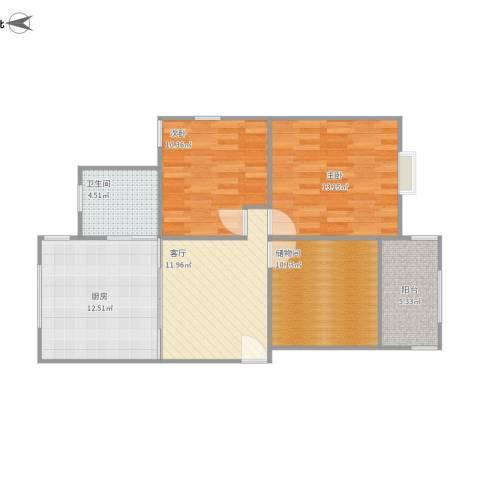 玉兰小区2室1厅1卫1厨92.00㎡户型图