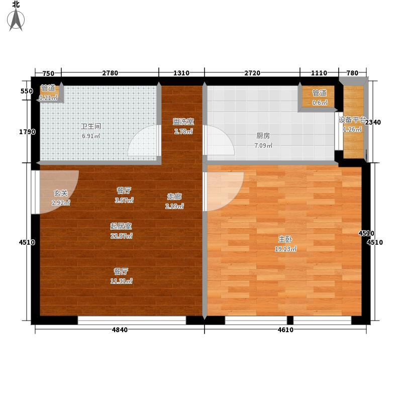 绿地城央名邸61.98㎡公寓户型1室1厅