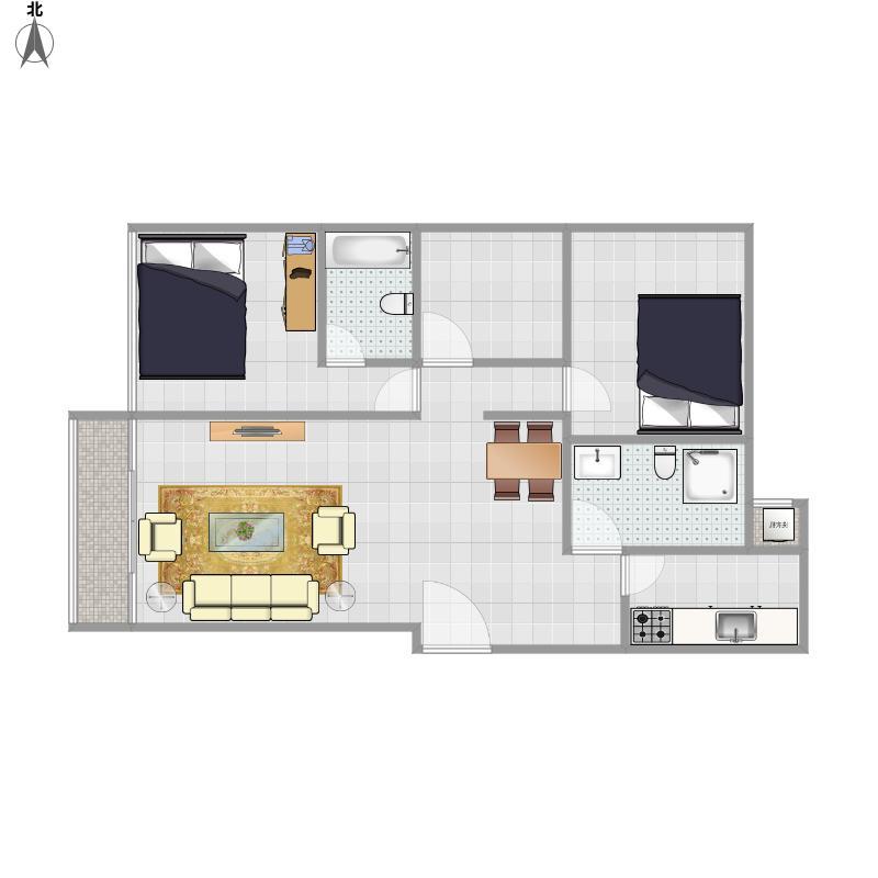 77平A户型三室两厅