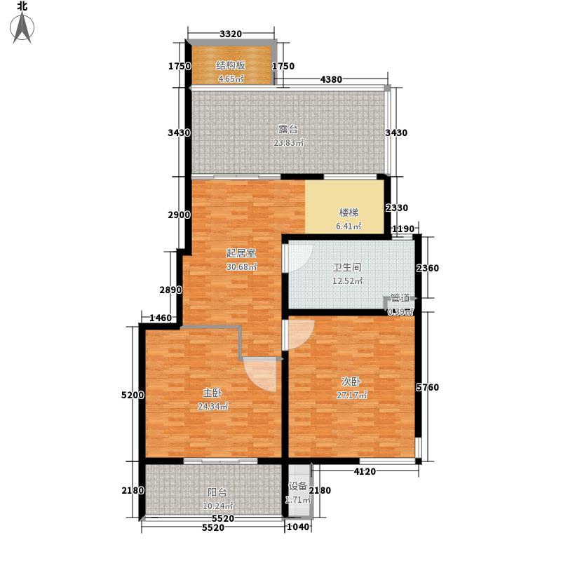 绿地波士顿公馆149.00㎡上层户型2室1厅