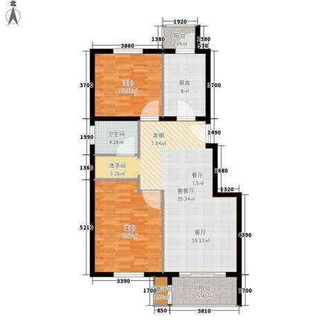 中南湾2室1厅1卫1厨97.00㎡户型图