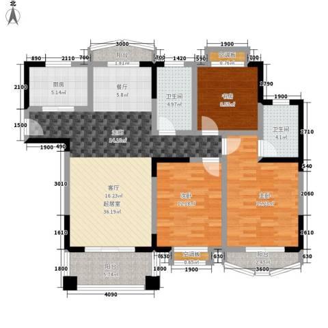 银河湾紫苑3室0厅2卫1厨144.00㎡户型图