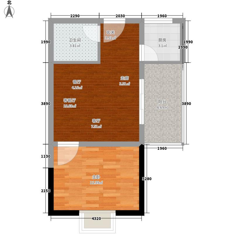 首领公馆51.66㎡C3一阳台户型1室1厅