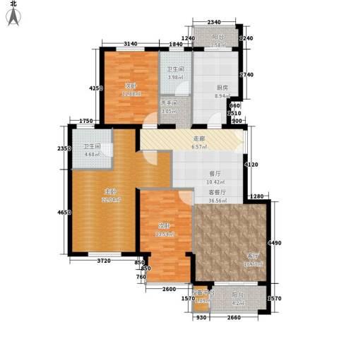 中南湾3室1厅2卫1厨135.00㎡户型图