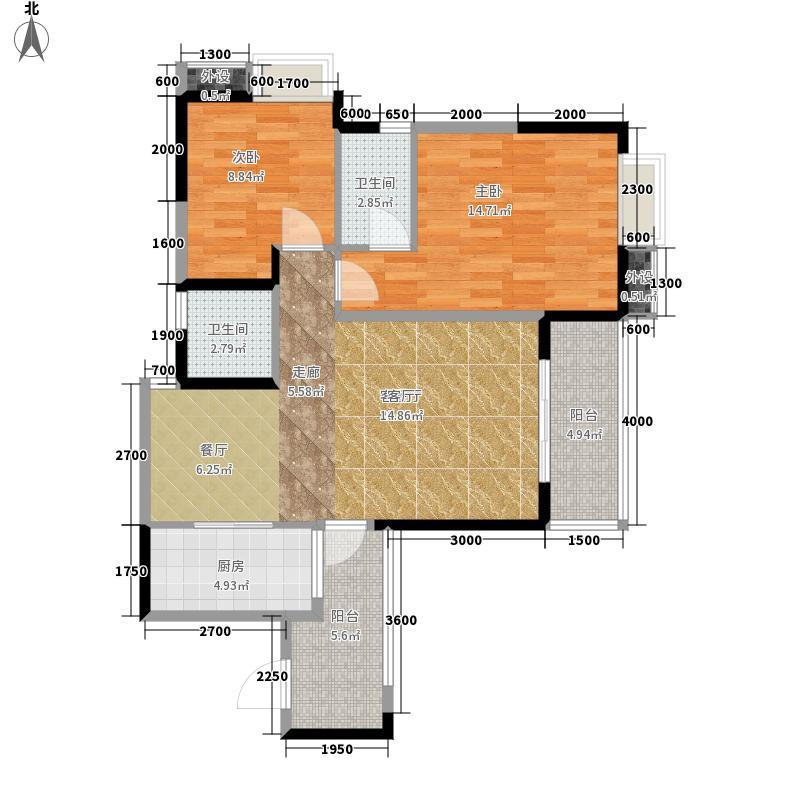 红枫岭89.97㎡三期枫和苑D2型标面积8997m户型