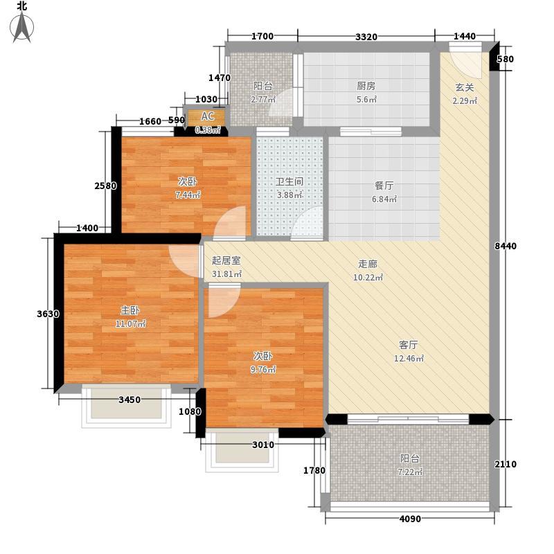 广州新塘新世界花园89.92㎡25栋1-6层03单元3室户型
