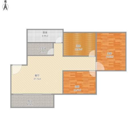 新城市花园3室1厅1卫1厨132.00㎡户型图