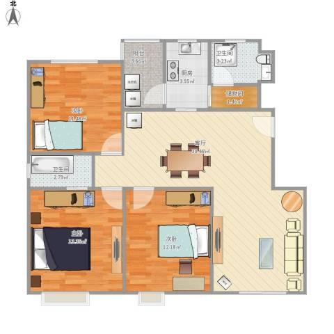 由由新邸3室1厅2卫1厨111.00㎡户型图