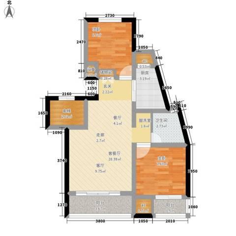 金地名京2室1厅1卫1厨87.00㎡户型图