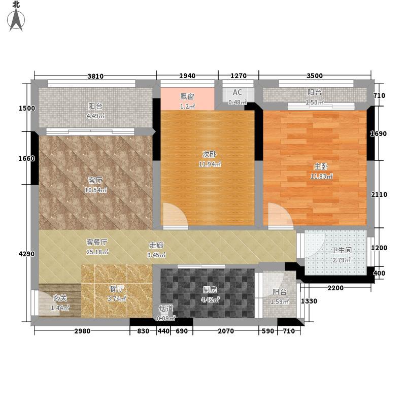 首信皇冠假日73.14㎡一期洋房A1-8-1户型2室2厅
