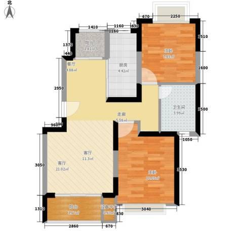 好日子大家园B区2室1厅1卫1厨77.00㎡户型图